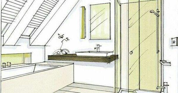 Indeling badkamer onder schuin dak het huis badkamer pinterest - Tub onder dak ...