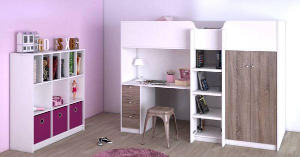 Hoogslaper irma met opbergkast planken bureau en lades hoogslapers - Geintegreerde bibliotheek ...