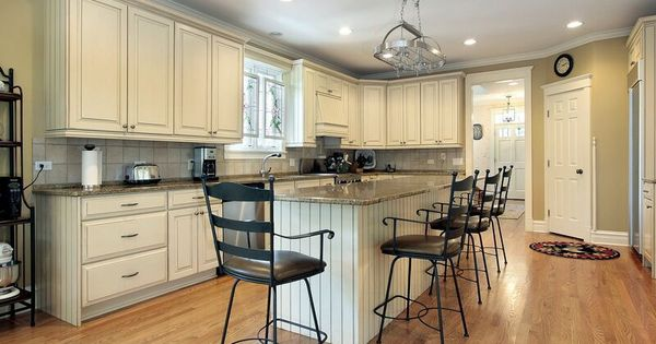 Antique White Open Kitchen Floor Plans Country Kitchen