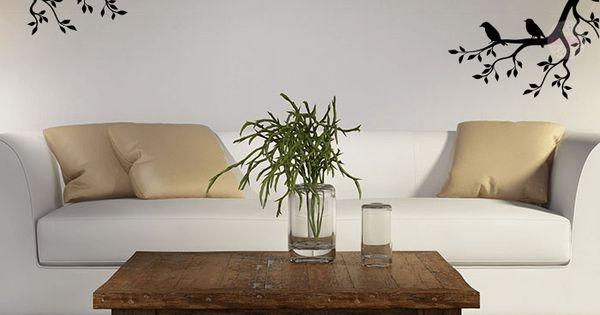 Vinilo decorativo de pared ramas con p jaros cdm vinilos - Vinilos decorativos para paredes exteriores ...
