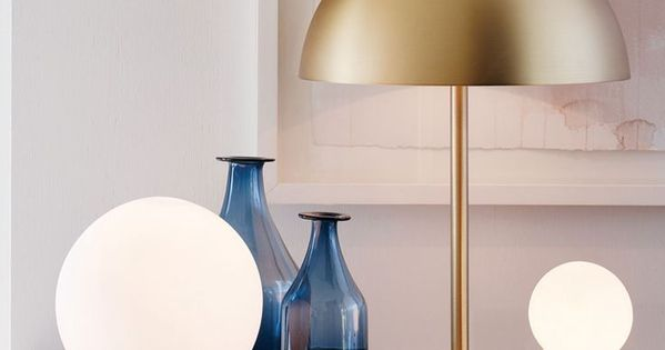 Mondo Large Round Table Lamp In White Brass July 4 2017
