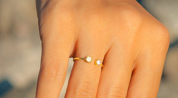 Personalized Ring - 14k Solid Gold Ring -Dual Birthstone Ring - Personalized