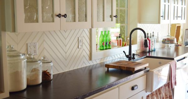 Large Herringbone Pattern + 30 Unique and Inexpensive DIY Kitchen Backsplash Ideas