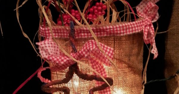 Lighted burlap bag with potpourri and cin dipped star decor crafts i