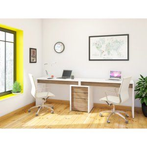 Nexera Liber T 2 Person Desk With Filing Cabinet White And