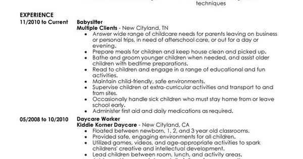 Resume examples, Resume and Babysitters on Pinterest