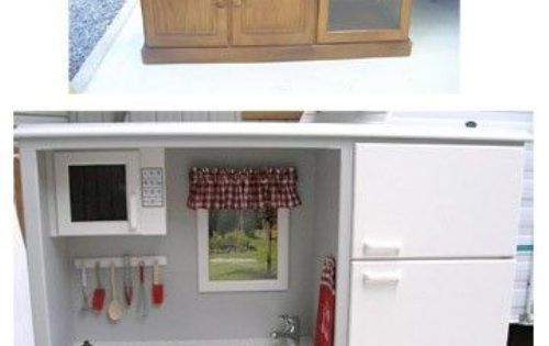 great way to repurpose old furniture Old tv cabinet into play kitchen