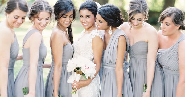 A stunning sterling wedding! Featured on @Stylemepretty as a top bridesmaid dress