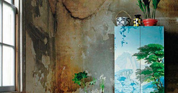 Pintura decorativa en muebles armario con papel pintado - Papel pintado para armarios ...