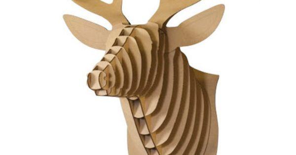 Buck jr deer cardboard trophy brown buck jr kartonnen trofee hert bru supergoods ecodesign - Trophy olifant kartonnen ...
