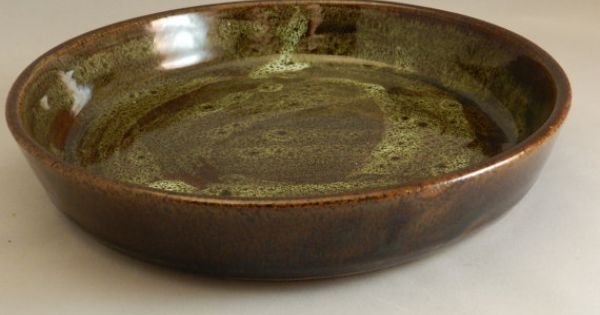 Pie Plate Brown Splash Glaze Stoneware By Peasleypottery
