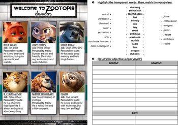 Welcome to Zootopia - worksheets (various activities ...