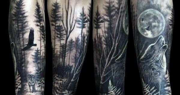 Wolf Howling At The Moon Male Forest Tattoo Sleeve On ...