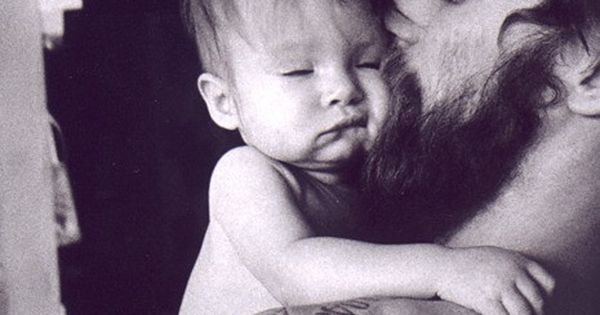 Tattooed bearded men with babies