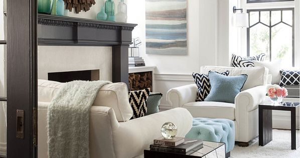 Transitional Living Room With Pops Of Blue Interior Home Design Pinterest Transitional