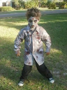 Halloween Zombie Costume.To Make An Easy Zombie Costume Just Put Come Red Paint On A Ripped White Shirt And Add Some D Zombie Costume Kids Zombie Halloween Costumes Zombie Costume Diy
