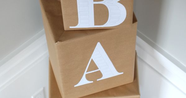 cut out letter b cardboard ea supplies baby blocks made out of diapers wrapped in brown paper 680
