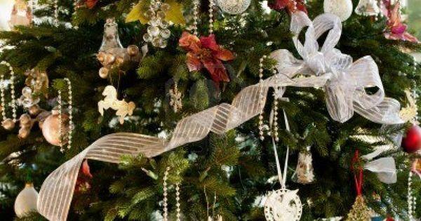 Rbol de navidad decorado con cintas de plata y negro y - Comprar arboles de navidad decorados ...