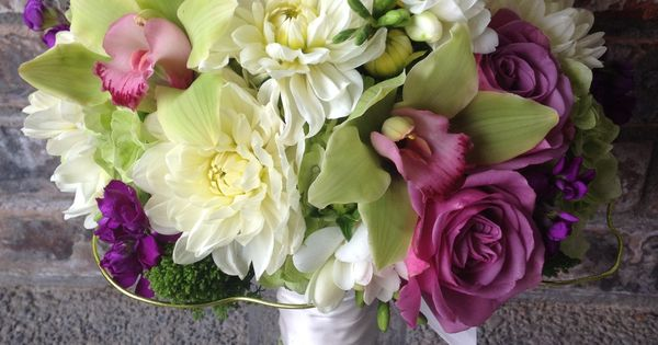 An Apple Green, Purple & White Bouquet By Floral design from bud