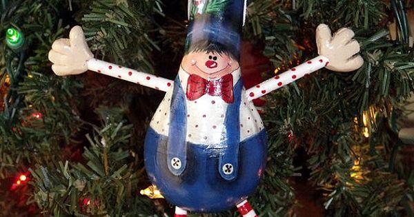 Hand Painted Christmas Elf Gourd Ornament Folk Art