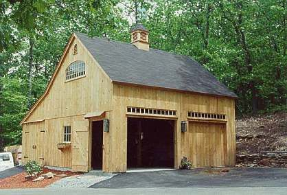 Exterior of one a half story post and beam country barn for Post and beam kits maine