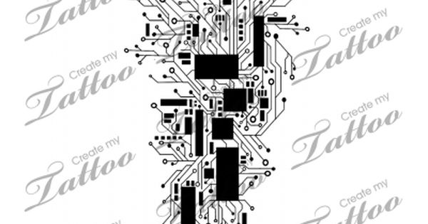 marketplace tattoo abstract circuitry computer  cyber tattoo  12664