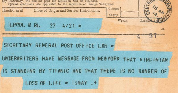 Telegram sent to the Secretary of the Post Office by the owners