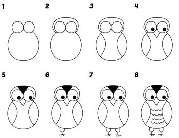 Directed Draw Owl Guided Drawing Kindergarten Directed Drawing