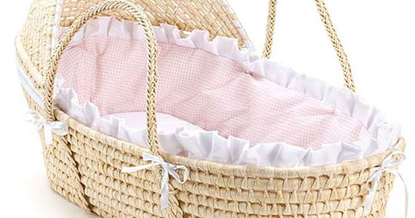 Natural hooded moses basket with pink gingham bedding by for Housse futon walmart