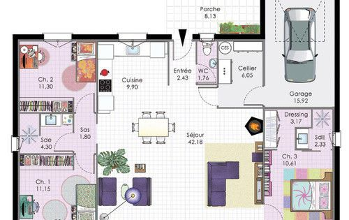 Maison bbc de plain pied bbc for Plan maison bbc