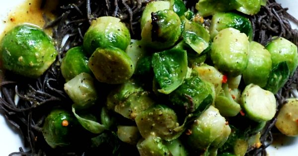 Black bean pasta, Brussels sprouts and Brussels on Pinterest