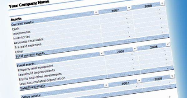 Balance Sheet Template for Excel 2007 #Free spreadsheet template - free balance sheet template