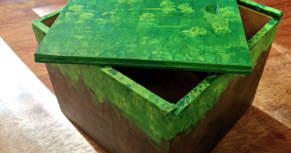 Minecraft Block Grass Wooden Box Wood By Magpiedelights On