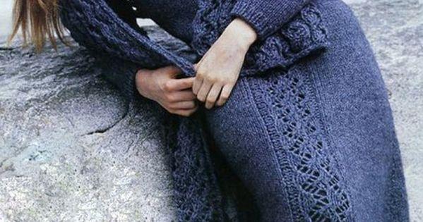 Синее платье спицами схема 149