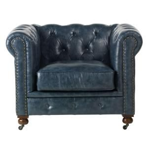 Home Decorators Collection Gordon Blue Leather Sofa 0849400310 With Images Tufted Leather Chair