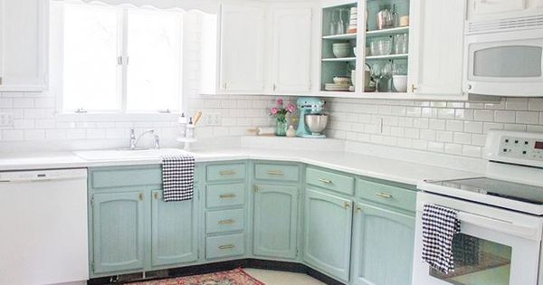 Avery Michaels Used Chalk Paint By Annie Sloan In Duck Egg Blue To Completely Tra Chalk Paint Kitchen Cabinets Chalk Paint Kitchen Painting Kitchen Cabinets