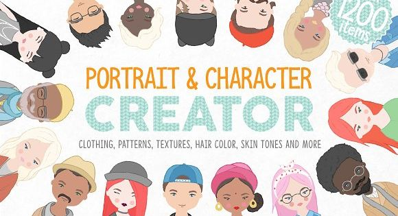 Portrait & Character Creator – Add pattern to your portrait and your resume is ready. Use these beautiful characters for your blog or for a postcard