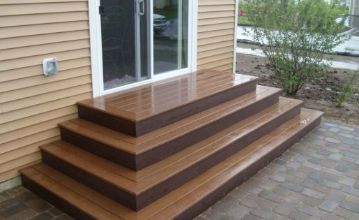 Build Wood Deck Stairs And Landing: Trex Steps On Paver Patio