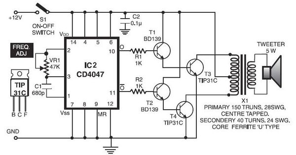 electronic pest repellent circuit schematic