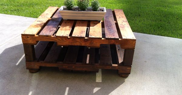 Outdoor Table Made With 2 Free Pallets, 4x4, Wood Legs