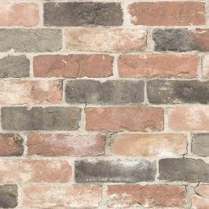 Nuwallpaper Newport Reclaimed Brick Peel And Stick Vinyl Strippable Wallpaper Covers 30 75 Sq Ft Nu2064 The Home Depot Nuwallpaper Brick Wallpaper Rustic Wallpaper