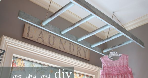 Ladder for hanging clothes in laundry room. Another idea to increase efficiency