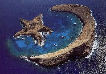 Appreciate the natural star and crescent formation on the Island of Molokini-