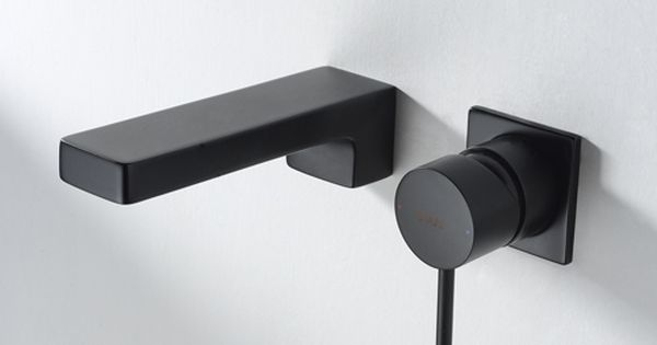 Single Handle Built In Basin Mixer Black Detail Bravat Wall