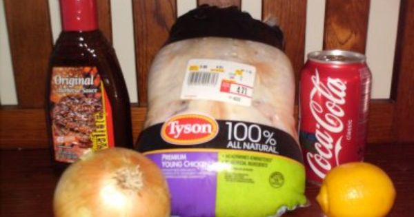 Coca-Cola Slow Cooker Chicken Whole chicken, bottle of BBq sauce, can of