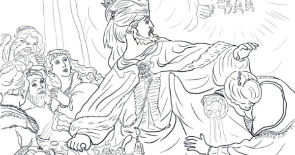 King Belshazzar And The Writing On The Wall Coloring Pages