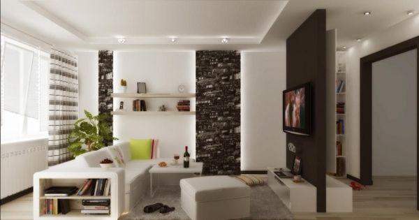 wohnzimmer modern einrichten schwarz weiß indirekte beleuchtung, Deko ideen