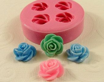 3-Cavity Rose Flower Polymer Clay Mold Fondant Mold Flexible Silicone F0130