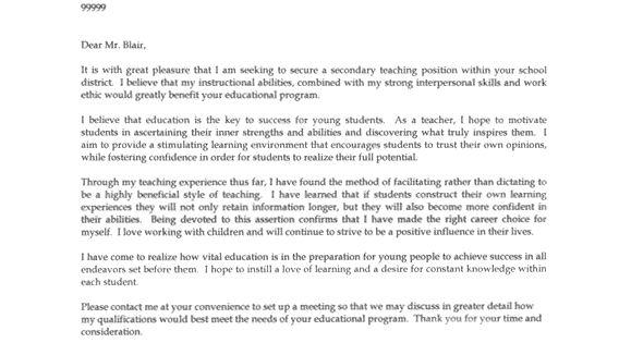 secondary teacher cover letter sample
