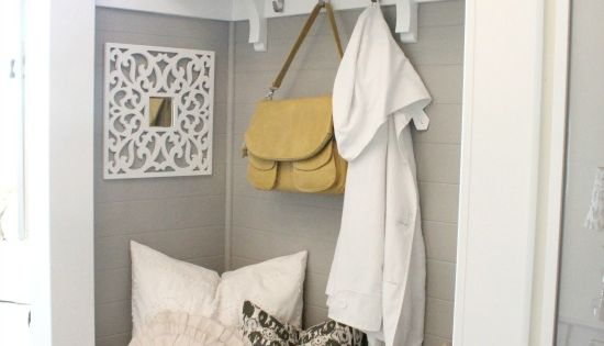 Remove closet doors to make a hallway nook. Love this idea if
